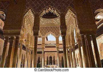 Lions Patio Columns Alhambra Spain