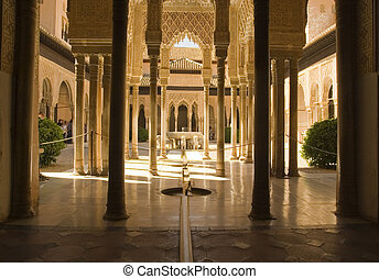 Lions Patio Columns Alhambra Spain