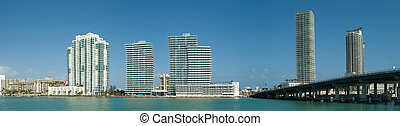 Bridge and South Beach - panorama of departments in Miami