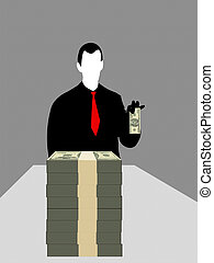 Businessman and dollars - Silhouette of business man with...