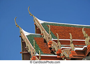 Temple Roof - Close up of a Thai temple roof
