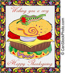 Greetingcard-Thanksgiving- with Food Elements