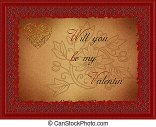 Greetingcard-Valentin with Ornaments
