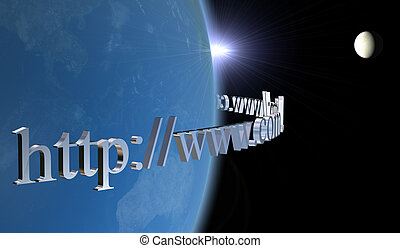 world-wide-web, - world internet 3D Earth and moon