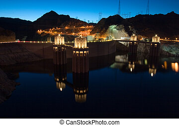 Hoover Dam Night with reflection in water, Nevada