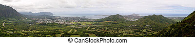 Pali Lookout, Hawaii - Panorama of the Pali Lookout, Hawaii