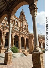 Plaza Espana and arch - Plaza Espana, Sevilla, Spain