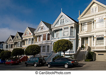 Victorian Houses, San Francisco, California - Alamo Sq...