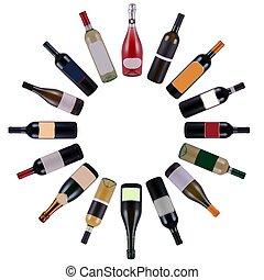 vino, botellas, círculo