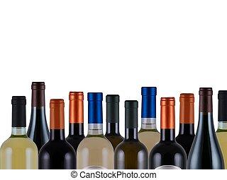 Bottles of wine - assorted bottles of wine on white...