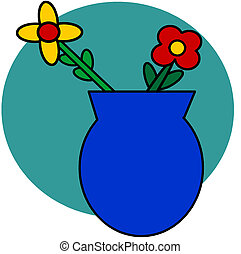 flowers in vase - simple clip art of flowers in a blue vase