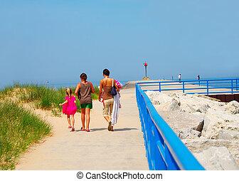 Lake Michigan Beach at White Lake Channel - A family walking...
