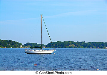 Sailboat on White Lake in Michigan USA