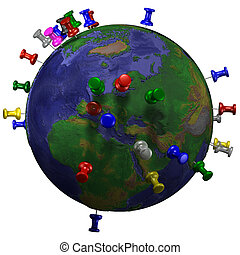 Tacks In Space Earth Map - Tacks / pushpins in earth map /...
