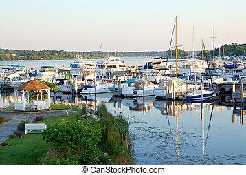 White Lake Michigan - Boats docked at the marina at White...