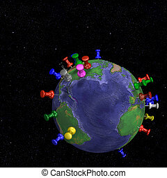 Tacks In Space Earth Map - Atlantic - Tacks pushpins in...