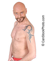 Middle aged man, tattoo - Attractive bearded middle aged man...