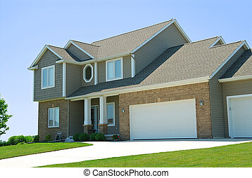 Residential American Two Story House - A residential...