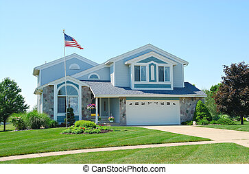 Residential Upscale American House - A residential suburban...