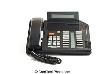 Old office phone - Old office speaker phone isolated on...