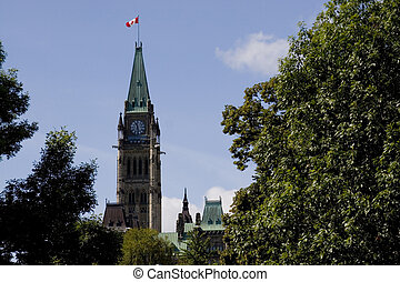 Peace Tower - Ottawa\\\'s Peace Tower, as seen surrounded by...