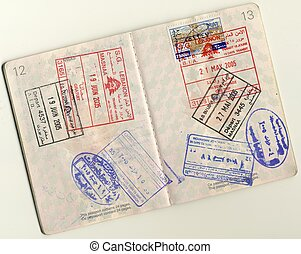 Passport - stamps and Visas - Page 12 an 13 from an isolated...