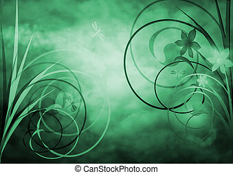 Abstract flowers - silhouette of flower over a textured and...