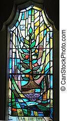 I Am The Life Window - A stained glass window showing the...