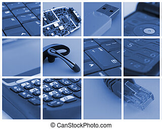 technology collage - collage of technological and...
