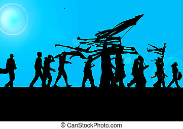 silhouette of young people desfilyng with flags