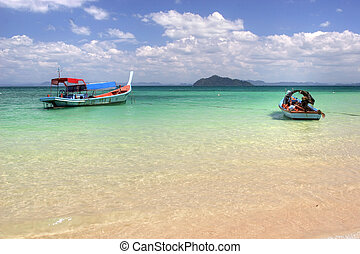 boats in paradise - two boats on the colorful andaman sea,...