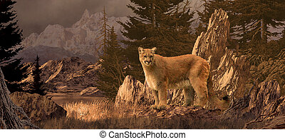 Mountain Lion - An original 10x22 painting of a cougar in...