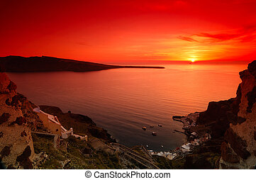 Sunset in Santorini - Image shows a spectacular sunset in...