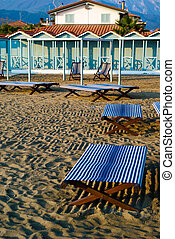 Beds in the beach - The private Viareggios sandy beach with...