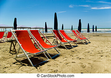 Versilia, Tuscany - A view of Tuscanian beautiful beach of...