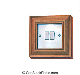 Light switch - A double light switch in a pine surround