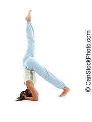salamba sirsasana supported headstand 3 - sporty girl...