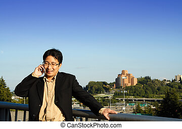 Businessman on the phone - A businessman talking on a cell...