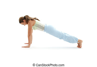 chaturanga dandasana four-limbed staff pose - sporty girl...