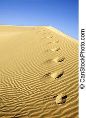 Desert Footprints - Footprints on sand dune with blue sky