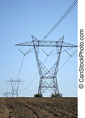 electricidade, terra,  pylons,  ploughed