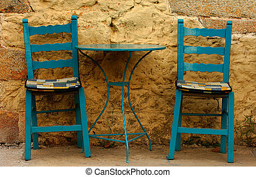 In Kardamili... - Blue table and chairs of a small village...