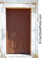 Brown door - Door on a old venetian house on Spinalonga,...