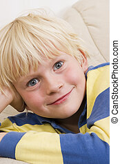Little boy smiling - Blond little boy smiling
