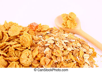 musli - A bowl full of granola isolated on white background