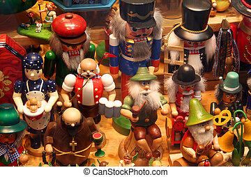 Wooden Figurines - Wooden figurines in a souvenir shop in...
