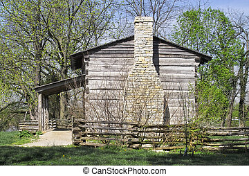 Log Cabin - Historical log cabin of George Rogers Clark in...