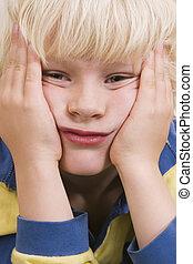 grimace - funny little boy making grimace