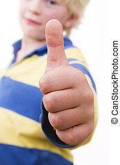 little boy, thumbs upp - cute little boy, thumbs up