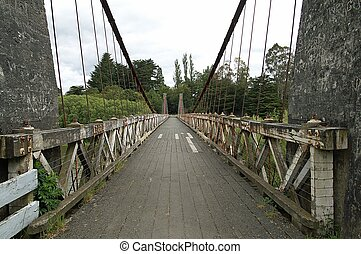 Suspension bridge 3 - Old suspension bridge; Clifden, New...